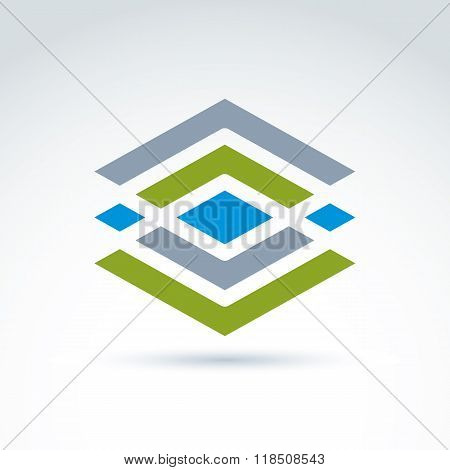 Abstract Geometric Ornamental Figure, Lines, Diamonds And Rhombs. Vector Colorful Complex Symbol.