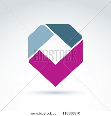 Vector Abstract Corporate Design Element. Geometric Symbol, Magenta Checkmark, Infographics Icon.