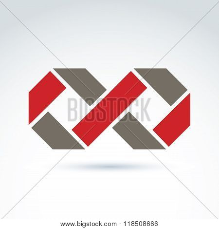 Vector Infinity Icon Isolated On White Background, Illustration Of Complex Eternity Symbol, Geometri