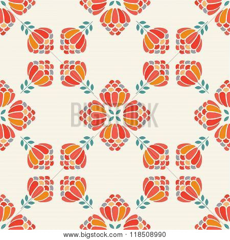 Cute Simple Flower Seamless Pattern. Red Aster