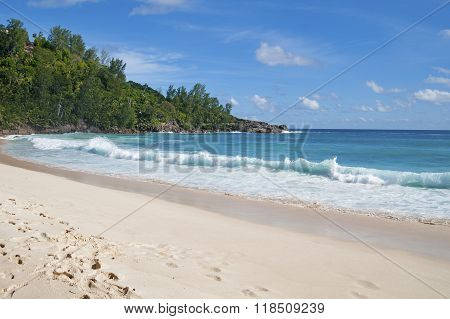 Beach On The Island Of Mahe In The Seychelles..