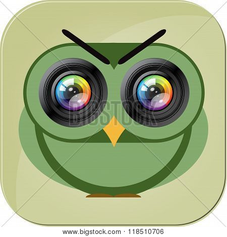 Owl camera icon. Photo lens