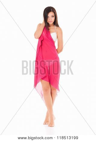 Sexy young brunette woman posing on white background