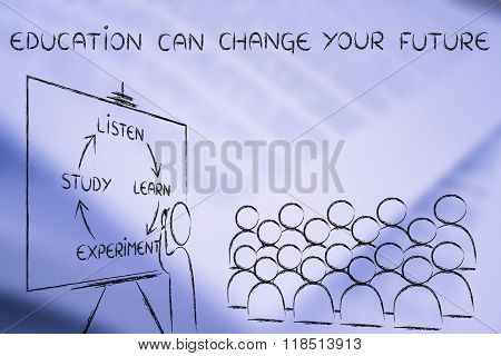 Education & Future, Classroom With Teacher Writing On Blackboard