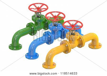 Colored Pipelines With Valves