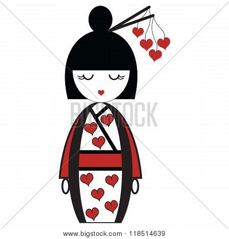 Oriental Japanese geisha  doll with kimono with orinetal hair sticks with hearts elements
