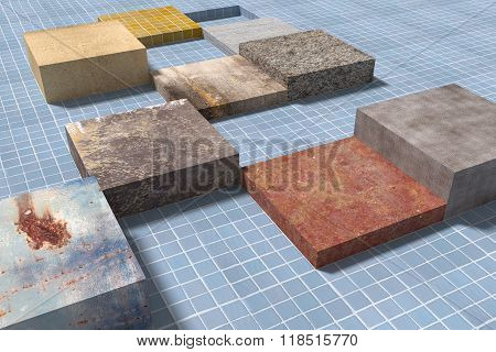 Three-dimensional Cubes On Glazed Tiled Floor