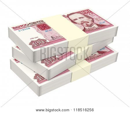 Cuban pesos isolated on white background. Computer generated 3D photo rendering.