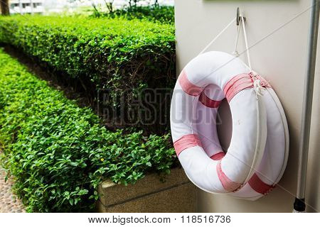 Life buoy attached to the concrete waterfront.