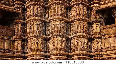 Panorama of famous stone carving sculptures, Kandariya Mahadev Temple, Khajuraho, India. Unesco World Heritage Site