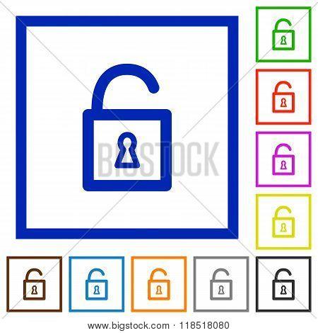 Unlock Framed Flat Icons