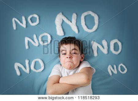 bad boy on blue blanket background