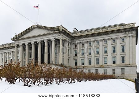 Department of Treasury in winter - Washington DC USA