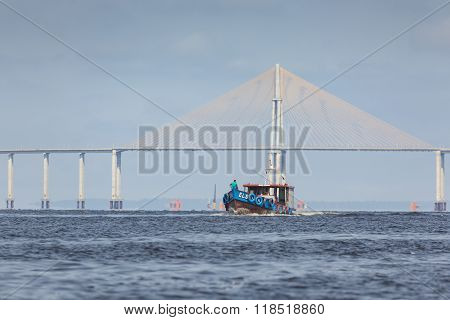 Manaus, Brazil, October 17:the Manaus Iranduba Bridge (called Ponte Rio Negro In Brazil) Is A Bridge