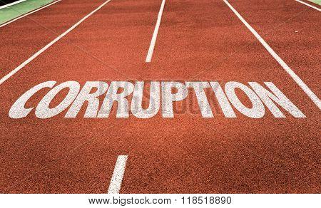 Corruption written on running track
