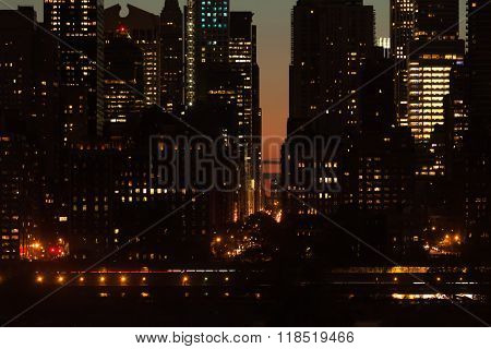 Twilight Scene Detail Of Buildings At Midtown Manhattan In Nyc