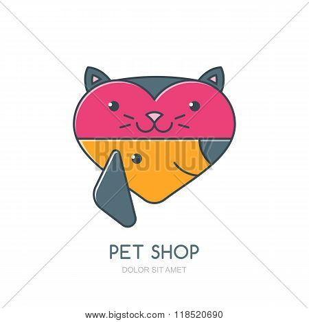 Vector Illustration Of Cute Muzzle Of Cat And Dog In Heart Shape.