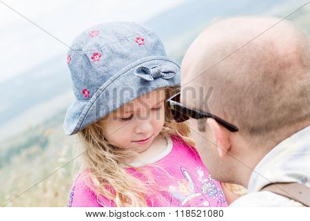 Dad Kissing And Soothes Daughter