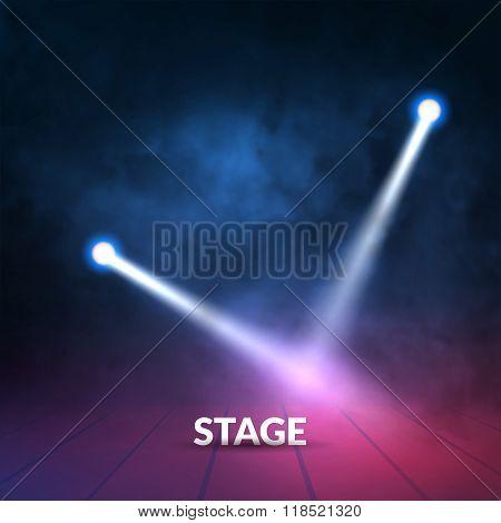 Floodlights spotlights illuminates wooden scene. Vector illustartion.