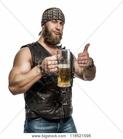 Beard Man Drinking Beer From A Beer Mug.