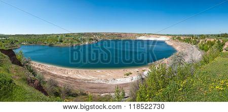 Beautiful lake in sand quarry. Kharkov region Ukraine
