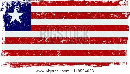 Liberia vector grunge flag isolated on white background.