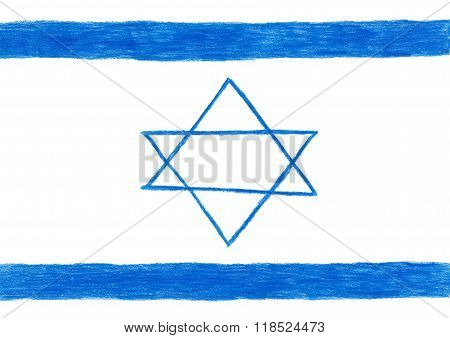 Israel Flag, Pencil Drawing Illustration Kid Style Photo Image The  Star Of David