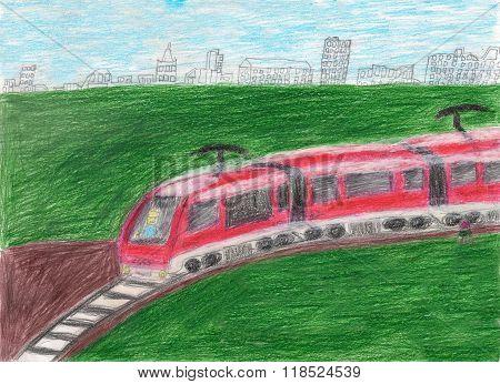 High Speed Modern Commuter Train Transportation Drawn By Kid, Illustration