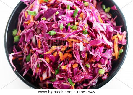 red cabbage slaw up close