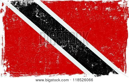Trinidad and Tobago vector grunge flag isolated on white background.