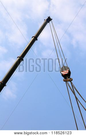 Big Pulley With Steel Cables To Lift Heavy Loads