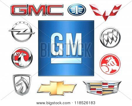 Brands of General Motors Company printed on paper