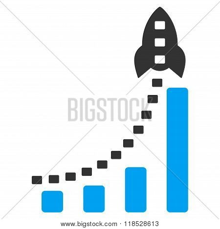 Rocket Business Bar Chart Glyph Icon