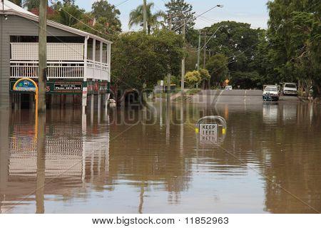Brisbane, Australia - Jan 13 : Flood  Brisbane Rosalie Area Queensland Declared Natural Disater Janu