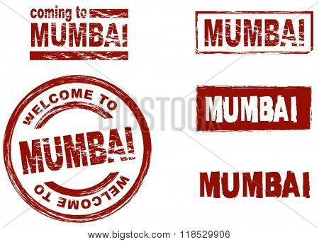 Set of stylized ink stamps showing the  city of Mumbai
