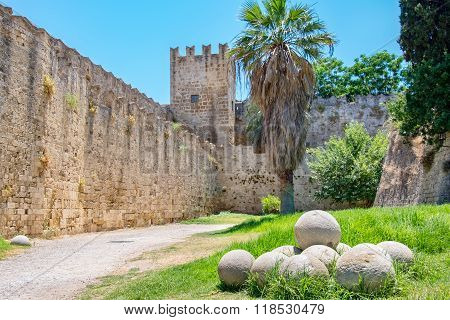 Fortifications Of Rhodes. Greece
