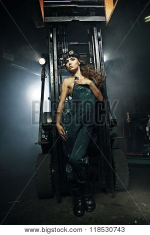 A beautiful woman - female construction worker