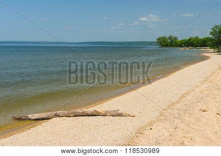 Empty beach on a Dnepr river at spring season Ukraine
