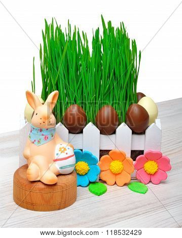 Easter Bunny, Easter Eggs Decoration Isolated