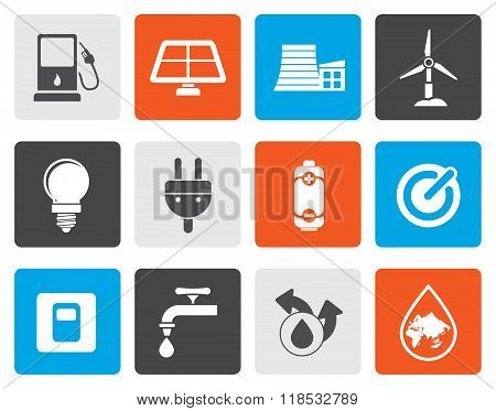 Flat Ecology, power and energy icons