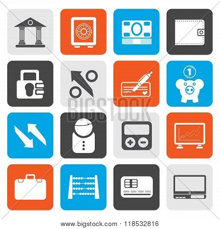 Flat Bank, business and finance icons