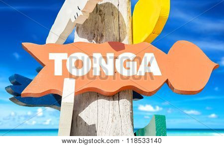 Tonga welcome sign with beach