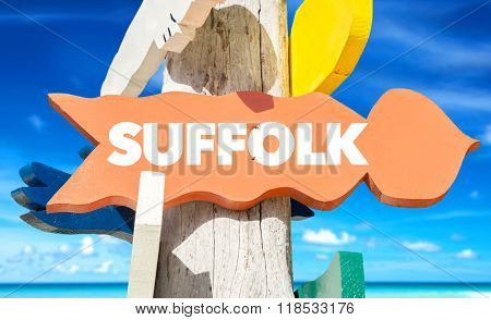 Suffolk welcome sign with beach