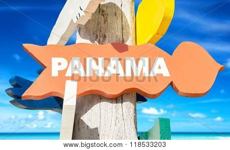 Panama welcome sign with beach