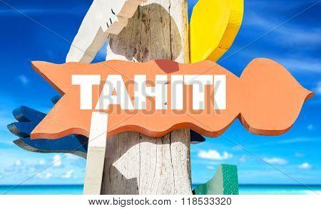 Tahiti welcome sign with beach