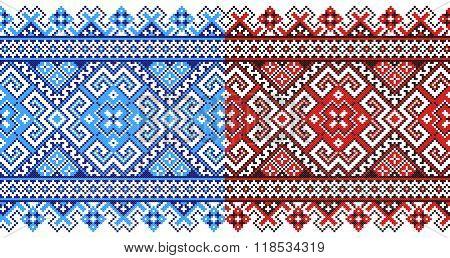 red and blue embroidered goods like old handmade cross-stitch ethnic Ukraine pattern. Traditional Ukrainian folk art pattern - vyshyvanka called