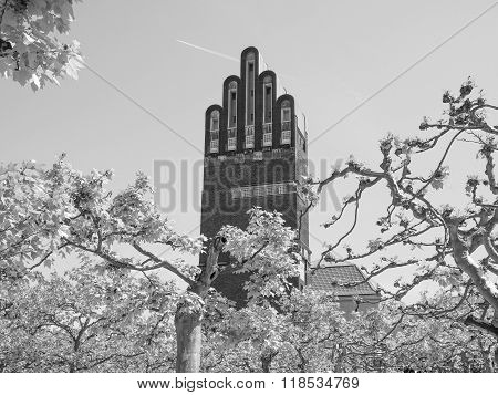 Black And White Wedding Tower In Darmstadt