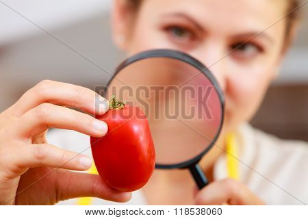 Woman Inspecting Tomato With Magnifying Glass.