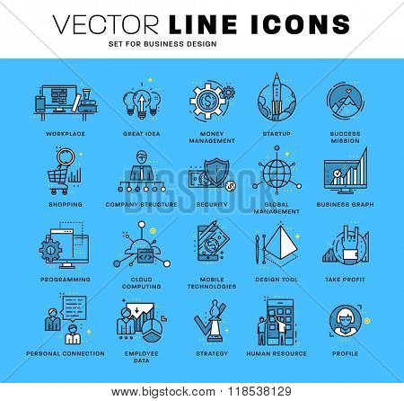 Thin Line Icons Set. Business Elements for Websites, Banners, Infographic Illustrations. Simple Linear Pictograms Collection. Logo Concepts Pack for Trendy Designs. Premium Quality Pictogram Pack