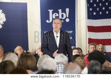 BEAUFORT, SOUTH CAROLINA-FEBRUARY 17, 2016: Presidential hopeful Jeb Bush speaks at a town hall meeting in Beaufort, South Carolina